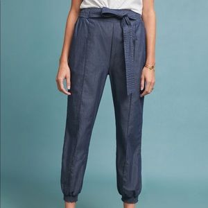 Anthropologie Globetrotters Chambray joggers
